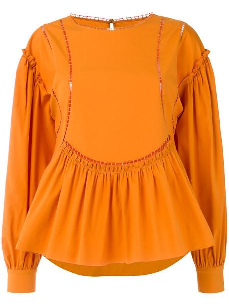 blouse women cotton yellow orange top