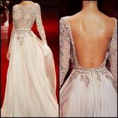 long sleeve dress,long sleeve prom dress,backless prom dress,embellished dress,embellished,elie saab,long sleeves,wedding dress,wedding clothes,long bridesmaid dress,dress,prom dress,sexy prom dress,glitter,sequins,sequin prom dress,long prom dress,long dress,white dress,backless dress,love,diamonds,beautiful,party dress,pink,champagne dress,champagne,shiny