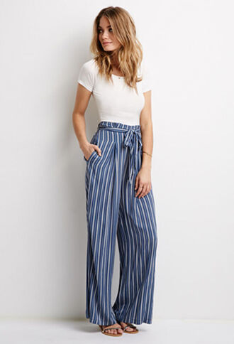 pants blue stripes tie up high waisted palazzo pants