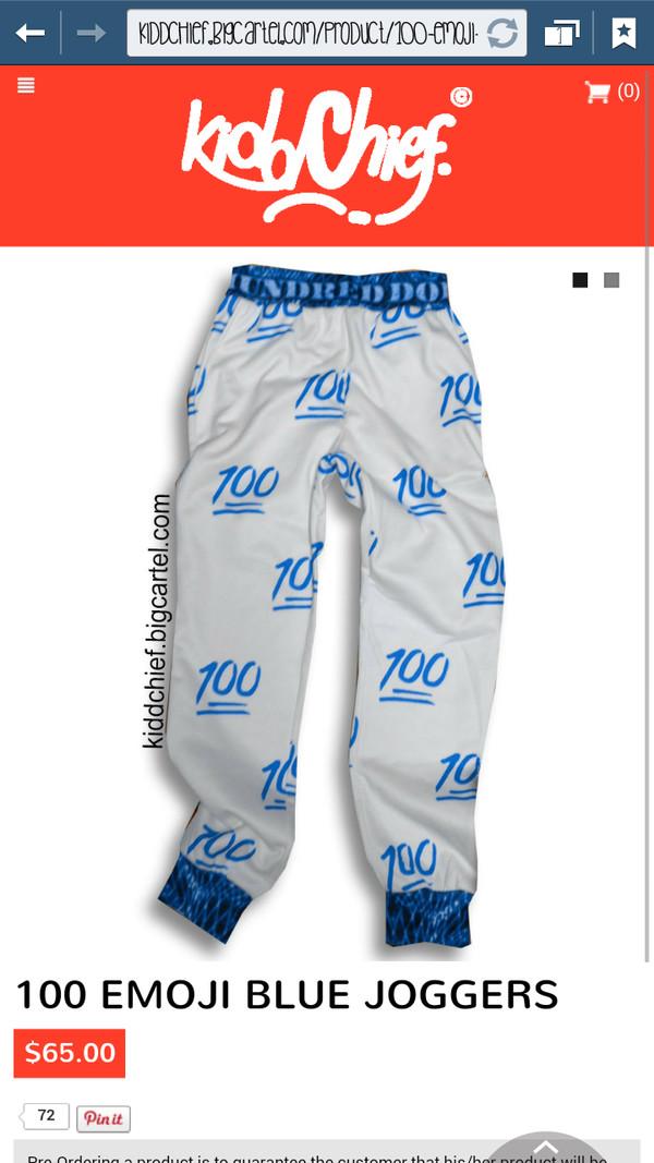 100 Emoji Joggers Black And Red Cheap Emoji Pants For Men: 100 Emoji Blue Joggers