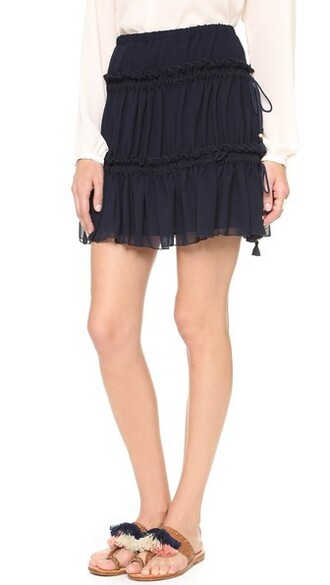 skirt dark ruffle navy