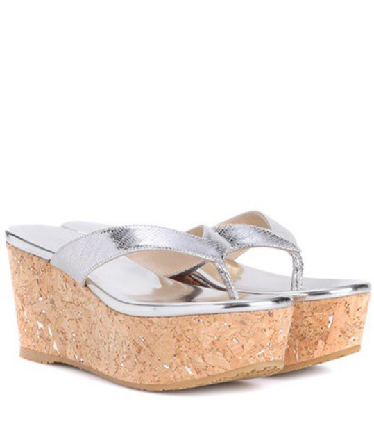 sandals platform sandals leather silver shoes