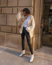 jacket,cardigan,knitted cardigan,oversized cardigan,ankle boots,white boots,skinny jeans,crossbody bag,white t-shirt