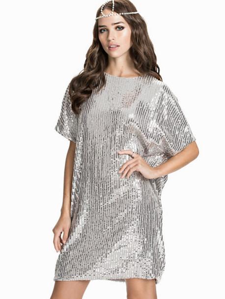 ebe1f9e9e252 dress sparkly dress silver dress t-shirt dress