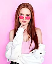 sunglasses,jacket,pink,madelaine petsch,editorial