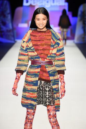 cardigan tights dress knitwear colorful fashion week 2016 runway ny fashion week 2016