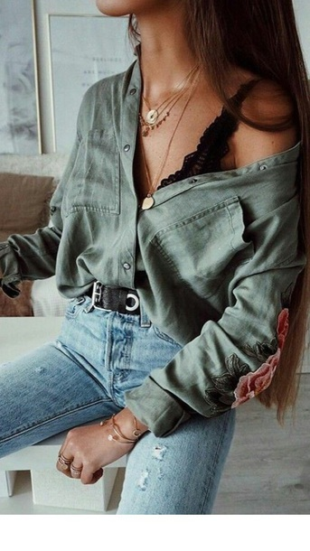blouse flowers green flowered blouse shirt off the shoulder