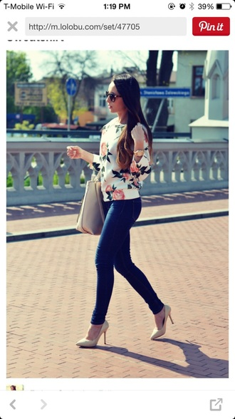 sweater white printed floral floral print sweater pink flowers flowers pink