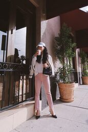 hallie daily,blogger,cardigan,jeans,shirt,bag,shoes,cap,pink pants,dior bag,slingbacks