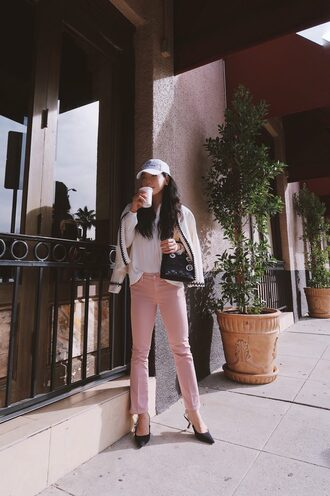hallie daily blogger cardigan jeans shirt bag shoes cap pink pants dior bag slingbacks