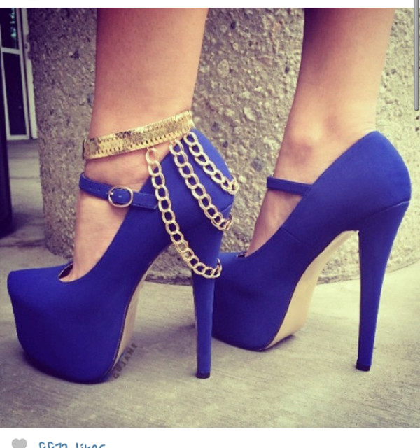 Sexy Blue Suede Platform Metal Ankle Strap &amp Chain Decoration High