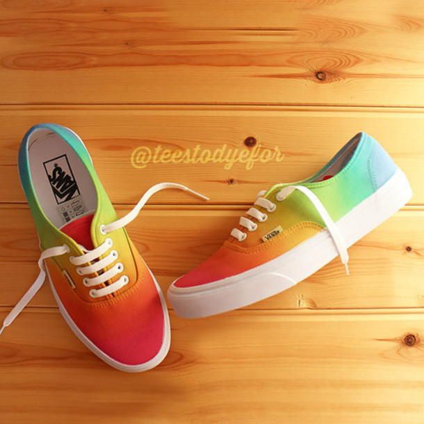 Shoes Vans Custom Customs Boho Indie Hipster Grunge Skateboard Tie Dye Ombre Rainbow
