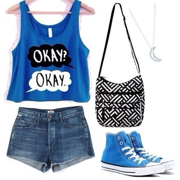 bag tank top dark blue; the fault in our stars blouse fault in our stars