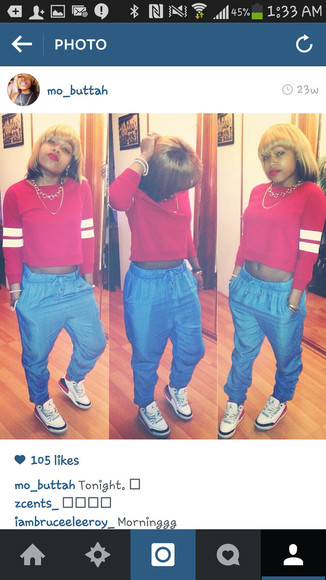 red sweater shoes cousin rockin her jeans