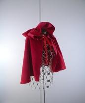 jacket,red,hood,bow,tie,littleredridinghood,halloween,cute,cape,capelett,capelet
