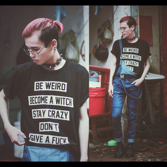 shirt choker necklace denim overalls black white cool quote on it