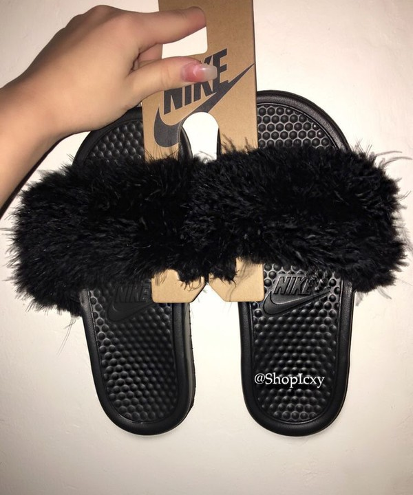 shoes black nike slides fur slides