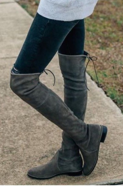 Shoes: grey, suede boots, tall boots, over the knee boots, ties at ...