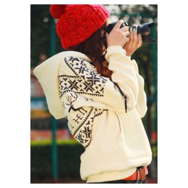 sweater cozy cream geometric winter sweater