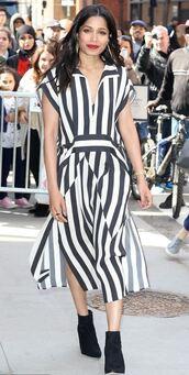 dress,black and white,stripes,striped dress,freida pinto,midi dress,spring outfits