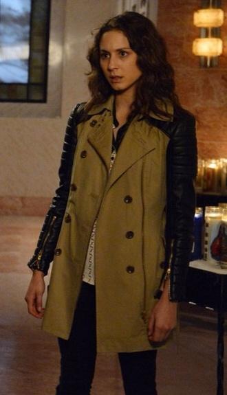 coat leather spencer hastings brown coat