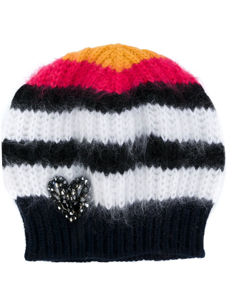 heart embellished beanie knitted beanie hat