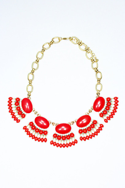 jewels statement necklace gold chain gold chain red turquoise