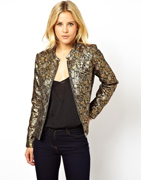 ASOS | ASOS Bomber Jacket in Gold Jacquard at ASOS