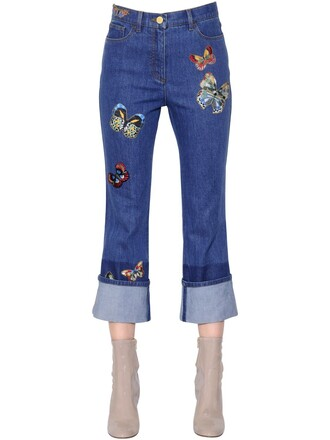 jeans denim embroidered butterfly cotton blue