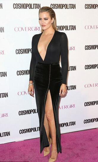 top slit skirt slit maxi skirt black khloe kardashian plunge v neck bodysuit