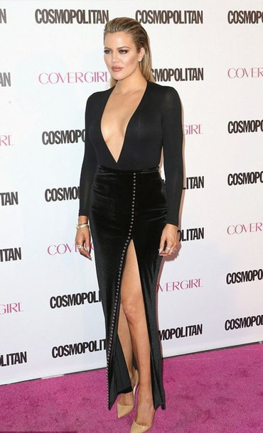 e95a9dec89 top, slit skirt, slit maxi skirt, black, khloe kardashian, plunge v ...