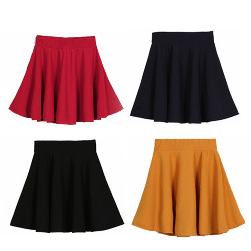 High Waist Short Plain Flared Pleated Sheer Skater Fippy Mini ...