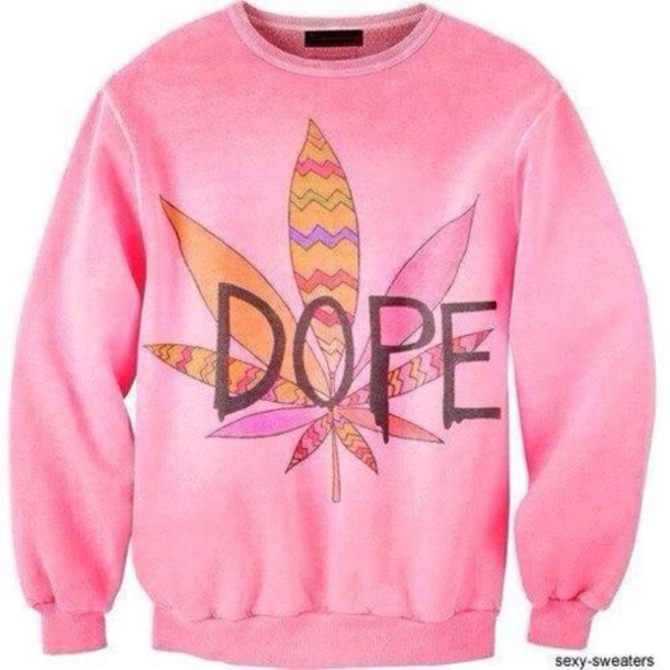 sweater pink dope cute weed sexy sweater