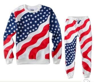 top american flag tracksuit sweatshirt joggers matching set set stars stripes