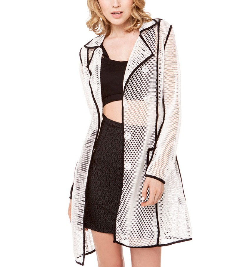 Double Breasted Fishnet Coat With Piping Detail