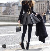 dress,black,black skirt,black leather skirt,leather skirt,paris,paris fashion,fashion,cute,lovely,skater skirt,black skater skirt,black crop top,leather top,skirt,black dress,outfit,heels,crop tops,chain bag,chic,ankle boots,black boots,tights,black top,black bag,black coat,faux fur coat,beret