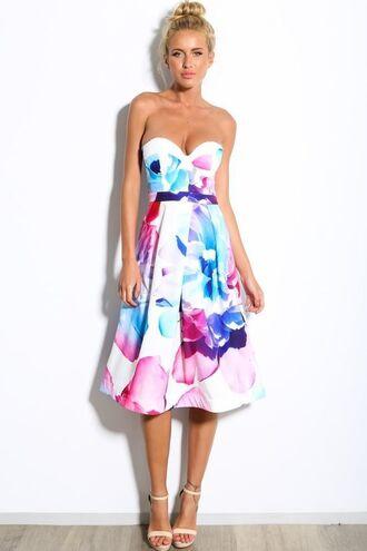 dress floral dress purple flower print dress print dress sweetheart dress