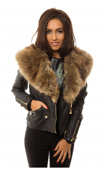 Faux Fur Collar Detail Biker Jacket - from The Fashion Bible UK