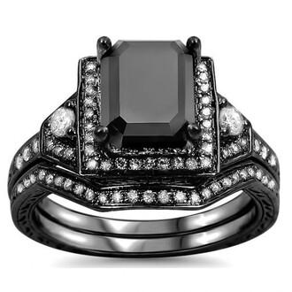 jewels emerald cut black diamond ring black ring set gorgeous 1.9 ct emerald cut black cubic zirconia engagement ring wedding set bridal ring set wedding ring set evolees.com