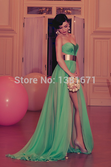 Aliexpress.com : Buy Free Shipping Backless Sweetheart Neckline Golden Belt Slit Green Chiffon Long Evening Dress from Reliable chiffon yellow dress suppliers on Aojia Top Evening Dress
