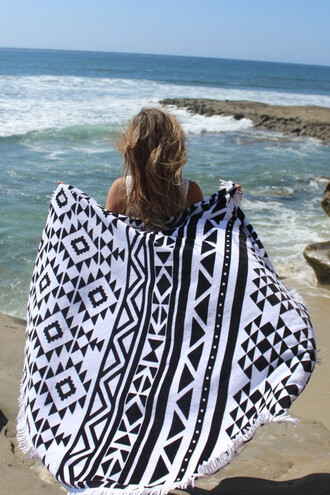 home accessory black and white beach summer trendy bikiniluxe swimwear beach towel slippa towel