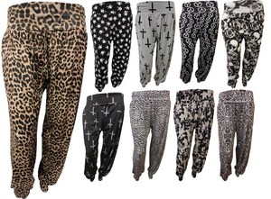 New womens plus size printed alibaba harem trousers baggy pants 16