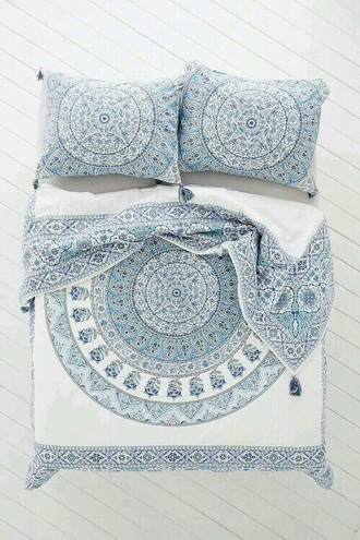 home accessory bedding duvet blankets indie hipster white blue home decor house bedroom teen room