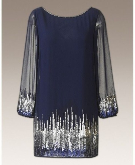 dress new years new year dress sparkle dres blue navy long sleeve dress