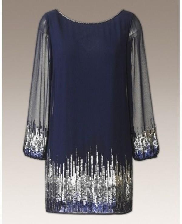 1a9275e35a24 dress blue navy navy sparkle long sleeve dress new year's eve new year's eve