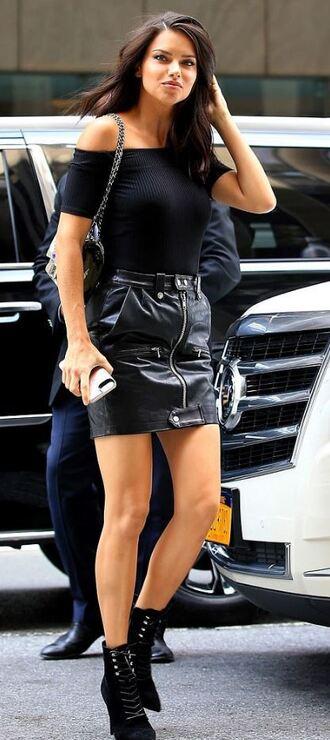 skirt adriana lima black all black everything mini skirt zipped skirt model victoria's secret model