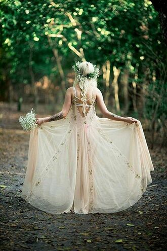 dress boho floral wedding dainty material boho wedding dress grunge hipster girly