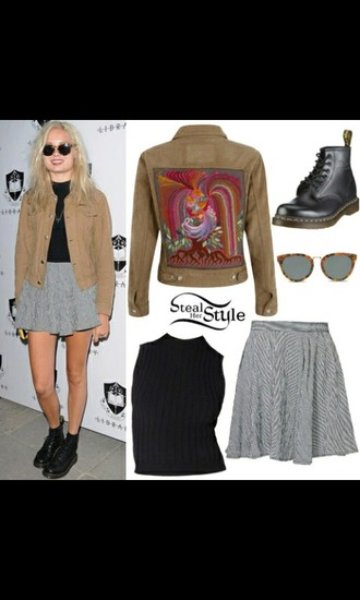jacket top skater skirt sunglasses