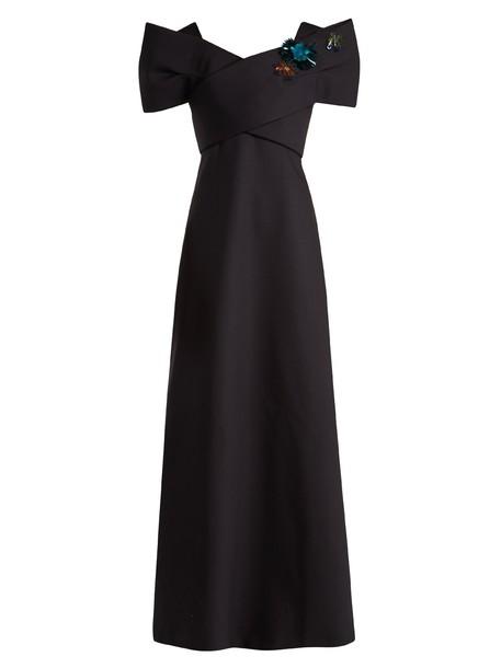 DELPOZO gown embellished silk wool dark blue dark blue dress