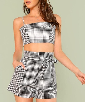 romper girly black black and white gingham two-piece crop tops cropped crop matching set shorts